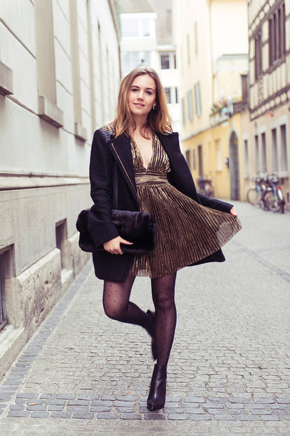 fashion gamble blogger pleated gold glitter dress holiday dress tights bag dress jacket shoes polka dot tights new year dresses gold dress coat black coat polka dots boots black boots ankle boots