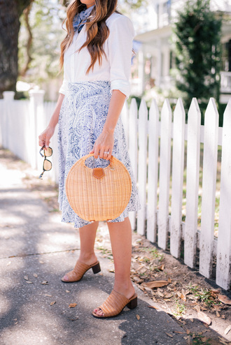 skirt scarf tumblr midi skirt printed skirt spring outfits blue skirt shirt white shirt bag basket bag shoes brown shoes mules office outfits work outfits spring work outfit