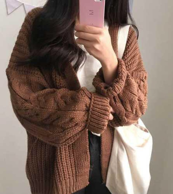 THICK KNIT VOLUME AESTHETIC BUTTONS CARDIGAN
