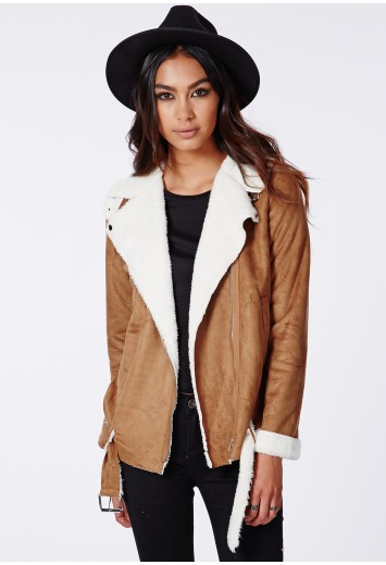 Bliss faux suede shearling jacket tan