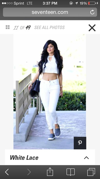 top lace kylie jenner white crop tops white shirt white jeans shoes jeans
