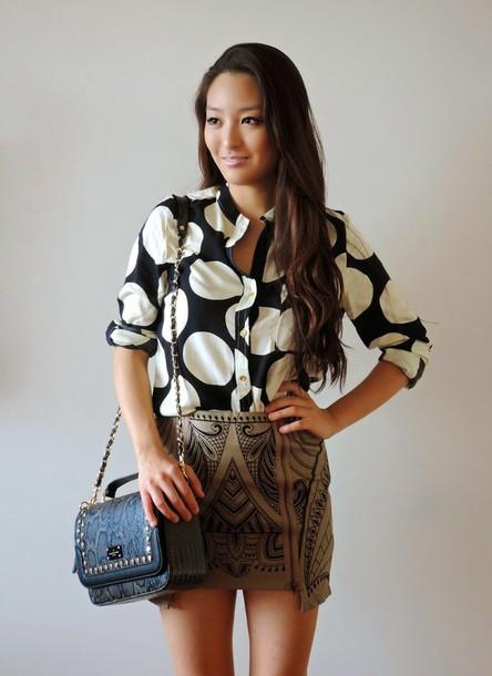 sensible stylista blogger bag polka dots mini skirt