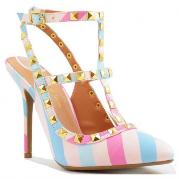 shoes wild diva lounge high heels pastel stripes pointed toe pumps pointed toe pastel pink studs studded shoes sandals sandal heels high heel sandals cute high heels prom shoes prom heels girly girly shoes multicolor chic stylish trendy spring 2016 turquoise pink