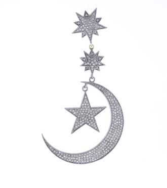 jewels stars star chams star crescent moon charms star chars earrings pave diamond jewelry sterling silver jewelry handmade jewelry wholesale jewelry fashion jewelry' designer jewelry new trendy jewelry yellow gold yellow gold jewelry gold jewelry women's wear jewelry