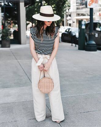 top hat tumblr streetstyle stripes sleeveless sleeveless top felt hat pants white pants wide-leg pants bag round bag