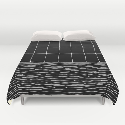 Hand Drawn Grid Duvet Cover by Georgiana Paraschiv