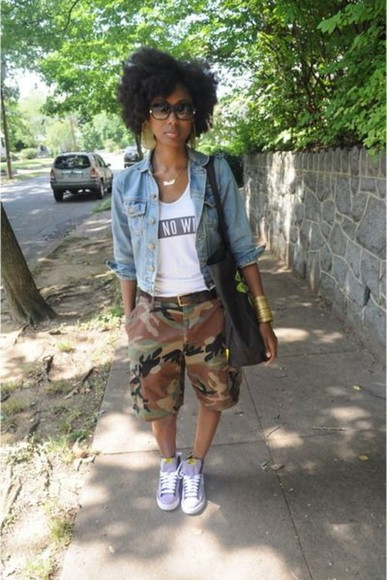 camouflage shorts army pants camo jean jacket natural classy sneakers black bag jacket shoes jewels