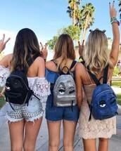 bag,tumblr,chiara ferragni,backpack,glitter,black backpack,shorts,denim,denim shorts,studded shorts,studs,studded,lace top,white lace top,off the shoulder,off the shoulder top,dress,mini dress,nude dress