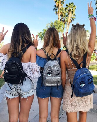 bag tumblr chiara ferragni backpack glitter black backpack shorts denim denim shorts studded shorts studs studded lace top white lace top off the shoulder off the shoulder top dress mini dress nude dress