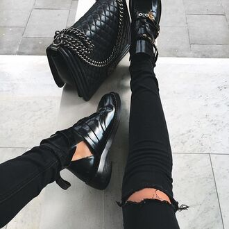 shoes tumblr boots ankle boots black boots cut out ankle boots bag black bag chanel chanel bag chanel boy jeans black jeans black ripped jeans ripped jeans