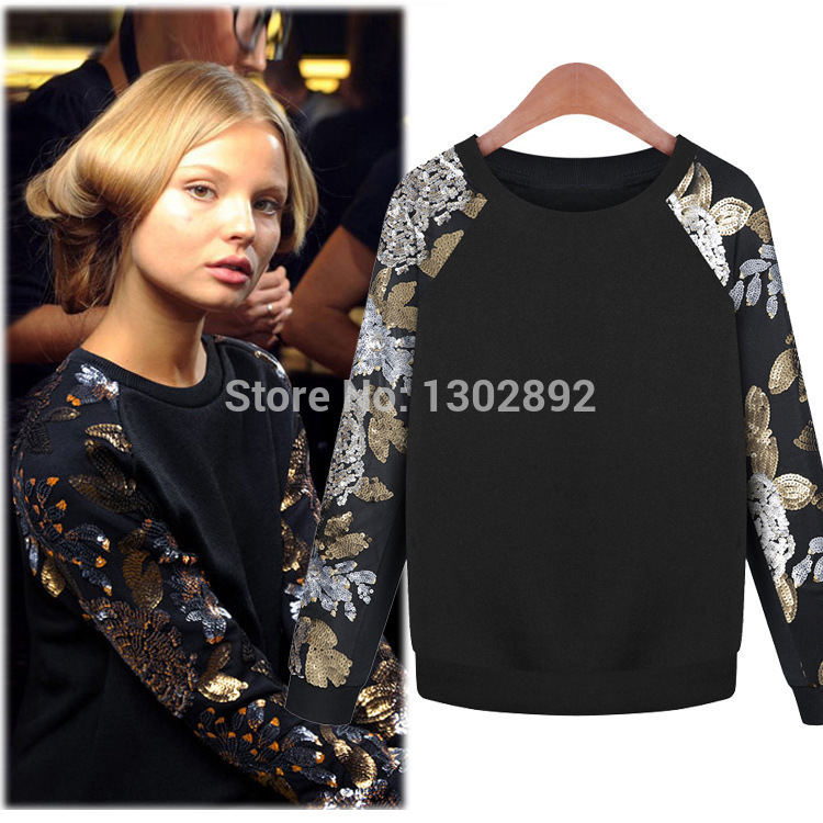 Aliexpress.com : buy fashion 2014 autumn winter new women's sweatshirts fleece pullover loose sequins round neck sweater women from reliable sweater calculator suppliers on tideclothes