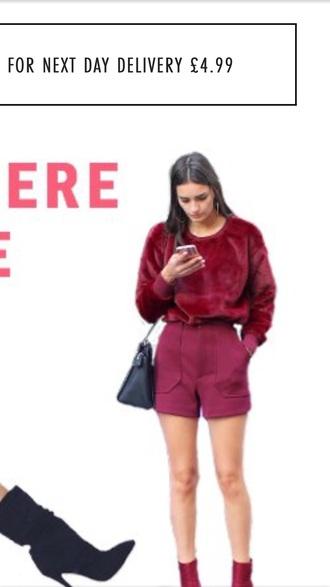 shorts high waisted burgundy