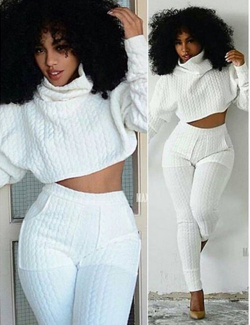Women's Solid White Thick Long Pants Romper Two Piece Set