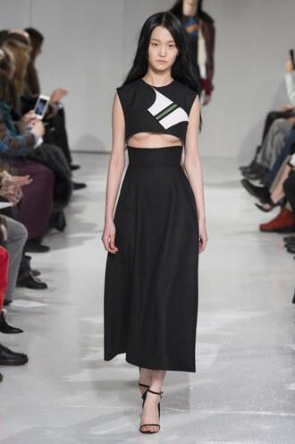 skirt midi skirt sandals top crop tops calvin klein ny fashion week 2017 fashion week 2017