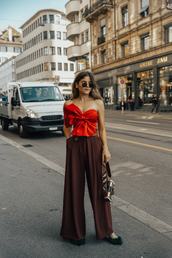 the fashion fraction,blogger,top,pants,bag,shoes,sunglasses,belt,bow top,red top,wide-leg pants