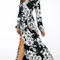 Midnight multi floral wrap maxi dress