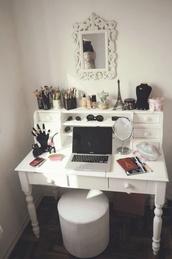 make-up,home decor,desk,home accessory,vanity.   white.  desk. bedroom,jewels,girly,romantic