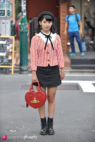japanese streets blogger heart red bag vivienne westwood striped jacket