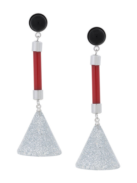 Bijou R.I women earrings silver grey metallic jewels