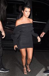dress,paris fashion week 2016,kourtney kardashian,off the shoulder,sandals,mini dress,little black dress,black dress,kardashians