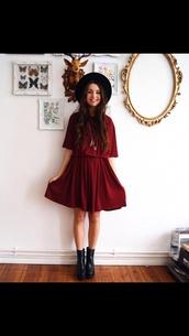 dress,red dress,prom dress,hat,shoes,indie,black hat,black boots,girl,indie dress,boots,burgundy,felt hat,burgundy dress,skater dress