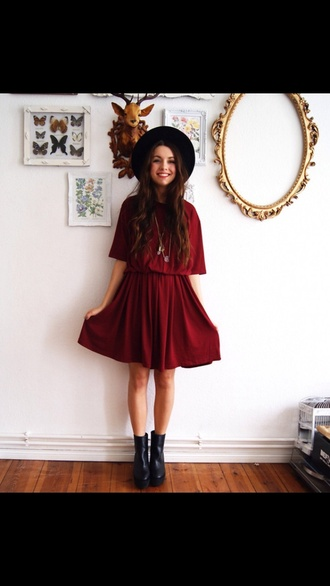dress red dress prom dress hat shoes indie black hat black boots girl indie dress boots burgundy felt hat burgundy dress skater dress