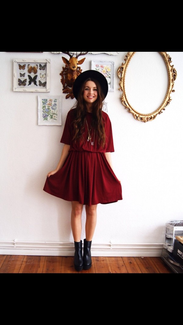 dress red dress prom dress hat shoes indie black hat black boots girl indie dress boots burgundy felt hat burgundy dress burgundy dress skater dress