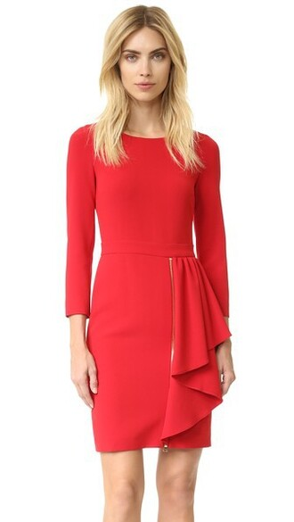 dress long sleeve dress long red