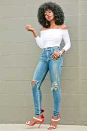 blogger,top,jeans,shoes,off the shoulder,white top,high waisted jeans,ripped jeans,red heels,sandal heels,black girls killin it,white off shoulder top,off the shoulder top,three-quarter sleeves,blue jeans,pom pom sandals,pom poms,sandals,red sandals,high heel sandals,earrings