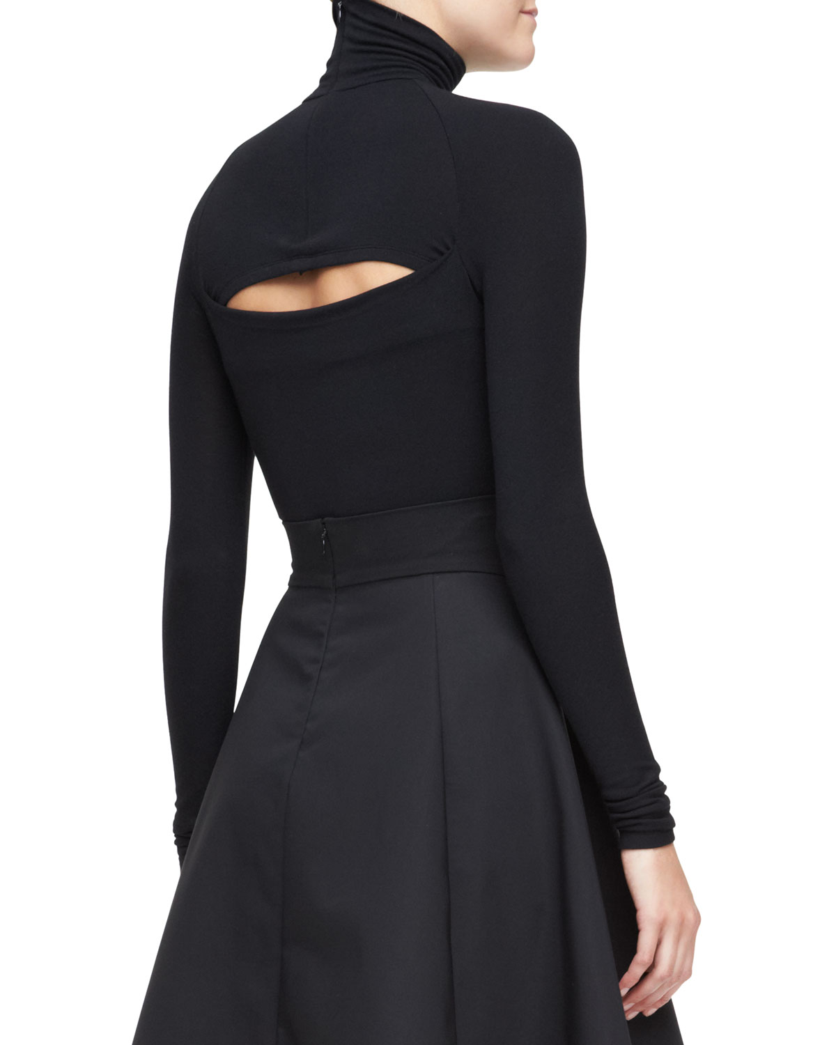 Long-Sleeve Turtleneck Top with Slash Back