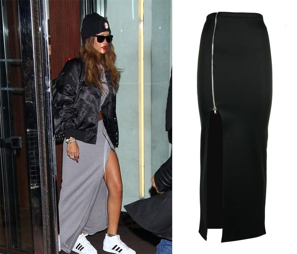 Latest Womens Ladies Rihanna Inspired Thigh Split Zip Long Sexy Maxi Skirt | eBay