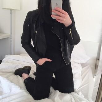 jacket veste veste cuir noir balck fermeture eclair fermeture grunge jewelry
