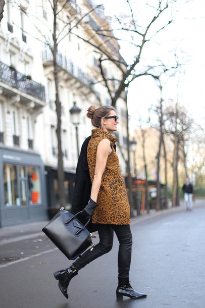 b a r t a b a c blogger sunglasses shift dress animal print handbag givenchy bun gloves chelsea boots shoes dress bag coat