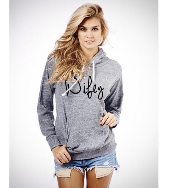 wifey wifey hoodie hoodie tri blend grey hoodie slogan sweatshirt graphic tee pullover pullover hoodie graphic sweater