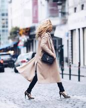coat,tumblr,camel,camel coat,bag,black bag,ysl,ysl bag,designer bag,pants,black pants,pumps,pointed toe pumps,high heel pumps,leopard print,work outfits,winter work outfit