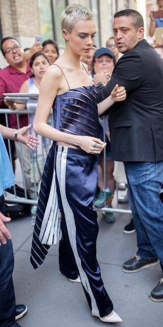 blouse top pants cara delevingne model off-duty silk asymmetrical