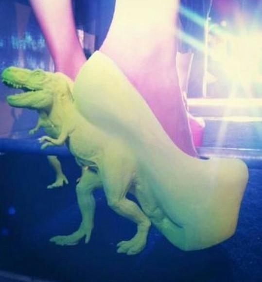 shoes yellow neon yellow heels dinosaur shoes high heels fun