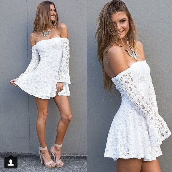 off the shoulder white dress lace dress