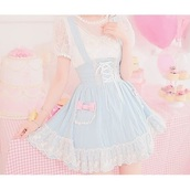 dress,kawaii,blue,light blue,lace,ruffle