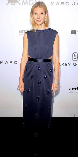 dress maxi dress gown gwyneth paltrow navy navy dress cut out dress