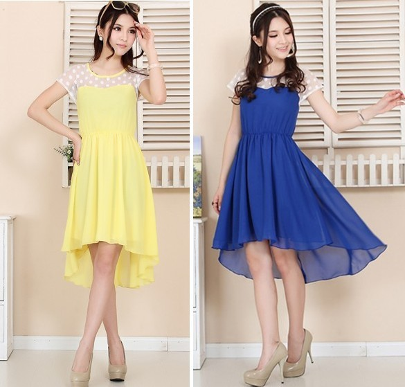 S 3XL cute lace chiffon women dress, women dress short front and long in back dresses new fashion 2013, free shipping R-in Dresses from Apparel & Accessories on Aliexpress.com