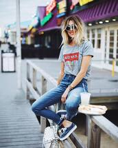 shoes,sunglasses,tumblr,sneakers,low top sneakers,denim,jeans,blue jeans,t-shirt,grey t-shirt