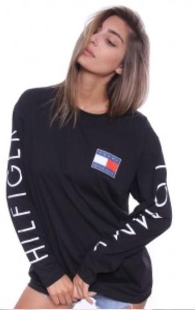 shirt tommy hilfiger black shirt long sleeve shirt black sweater top long sleeves t-shirt