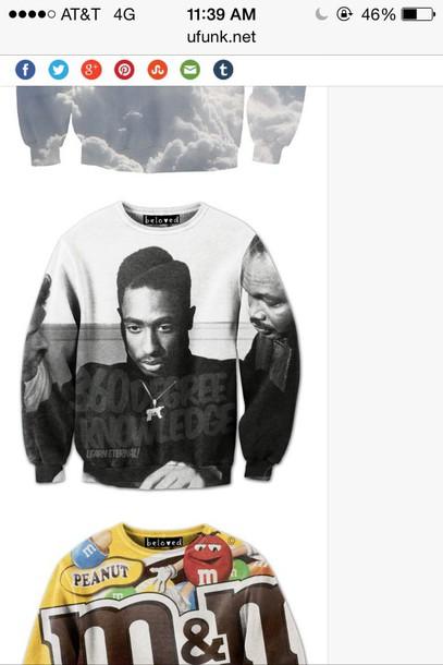 sweater juice tupac sweatshirt tupac jacket urban shirt sweatshirt 90s style black and white