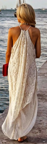white dress lace dress beach backless dress hippie maxi maxi dress creame cream beige blonde wedding clothes halter flowy need it please