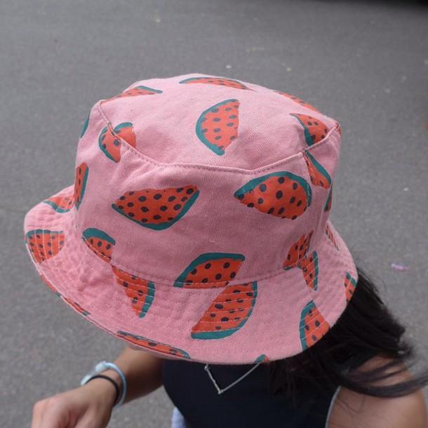 Hat: bucket hat, watermelon print, bucket hat, dope, melon ...