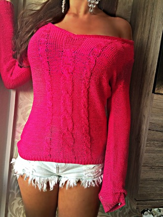 knitted sweater cable knit off the shoulder sweater denim shorts