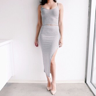dress ribbed ribbed skirt skirt crop tops grey two-piece matching set gojane