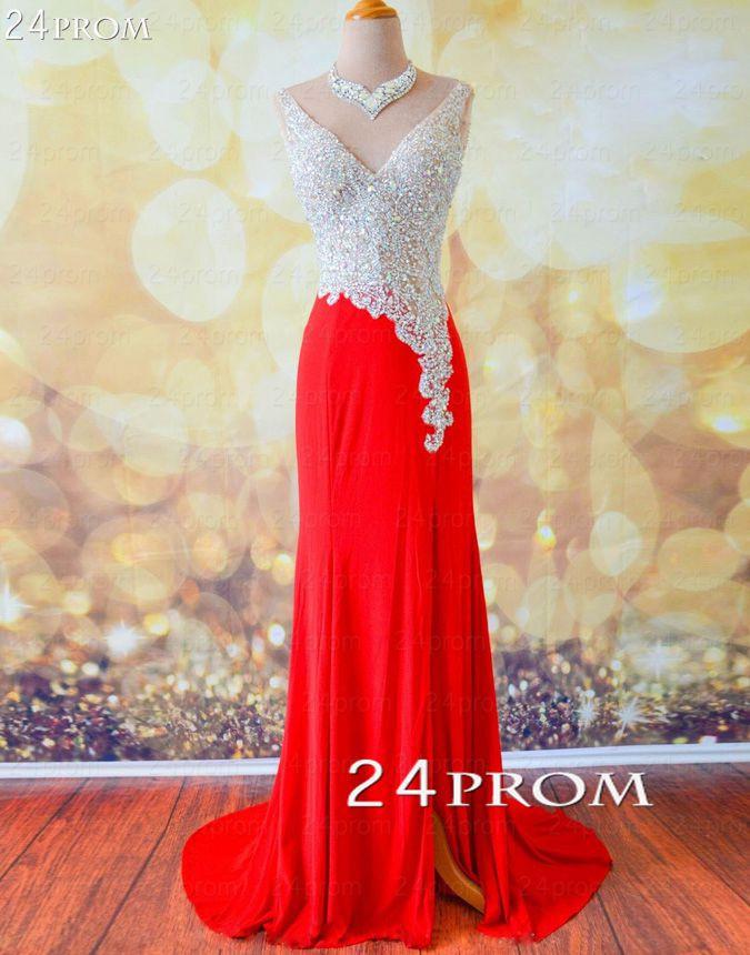 Amazing red v neckline chiffon long prom dresses, evening dresses