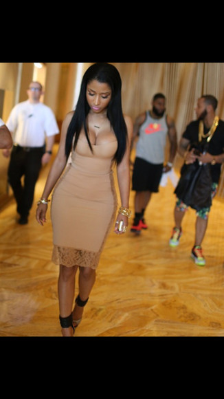 nude sandals dress nicki minaj bad bandage dress lace dress fashion baddies blackbarbie nicki minaj style high heels